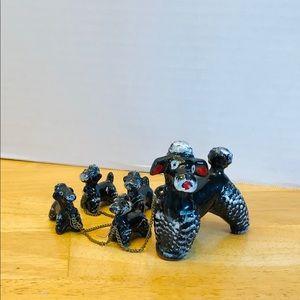 Vintage Ceramic Japan Mother Poodle & four puppies